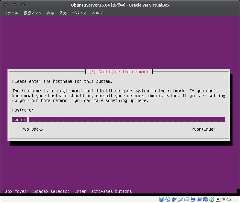 Fig21.UbuntuServer(ホスト名の入力)