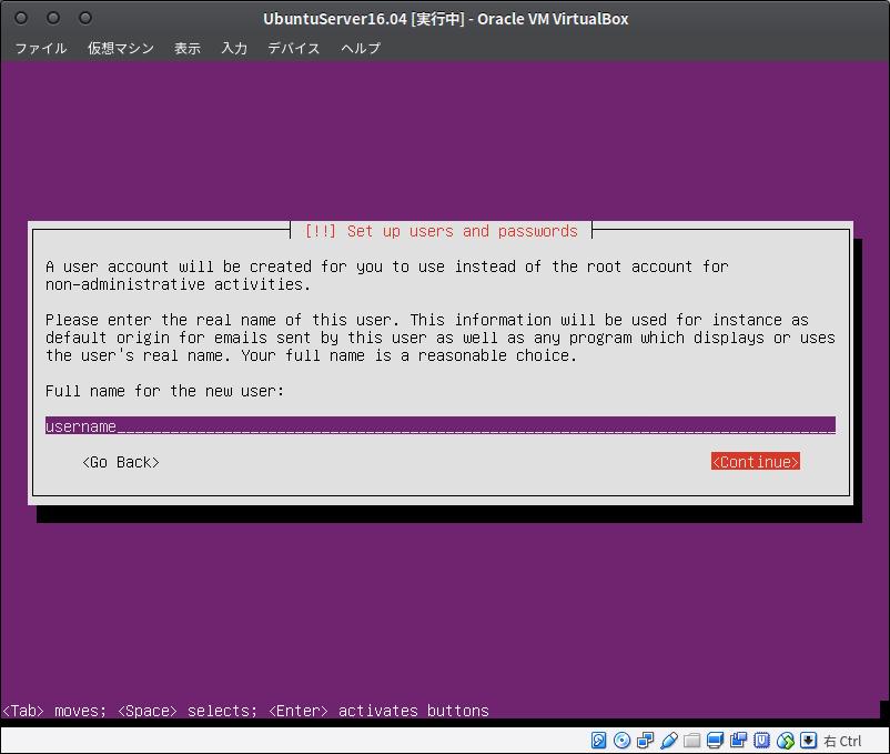 Fig22.UbuntuServer(ユーザ名の入力1)