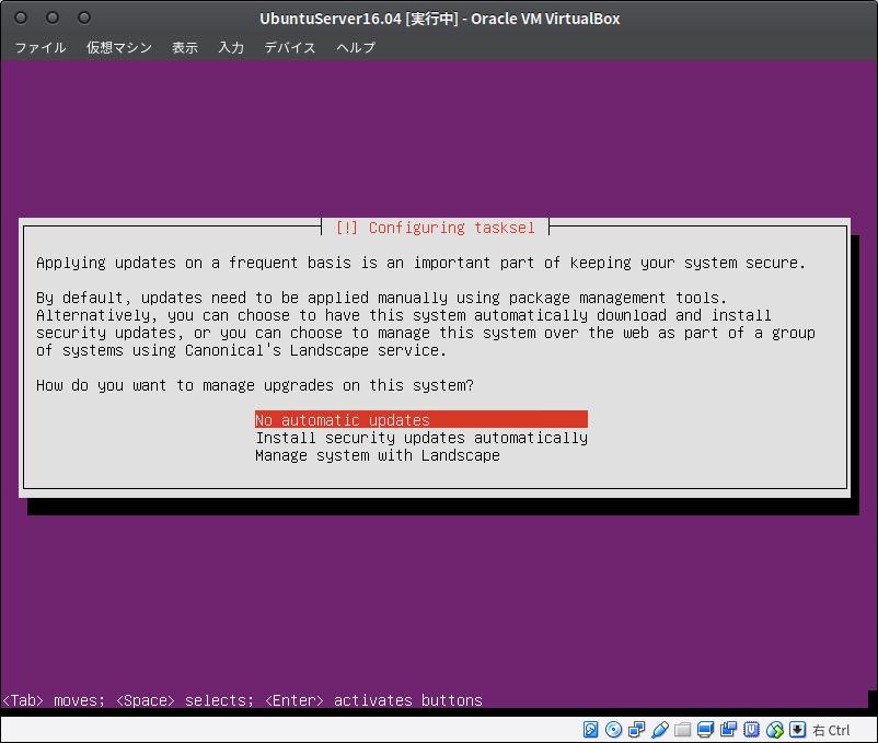 Fig34.UbuntuServer(アップデートの設定)
