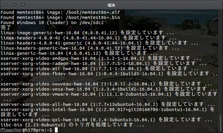 Fig4.HWEカーネルのインストールが完了