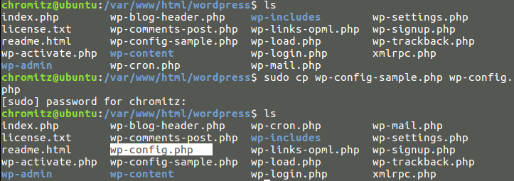 Fig5.cpコマンドで生成されたwp-config.phpファイル