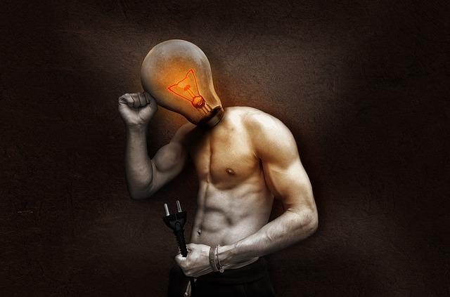 挿絵:頭が電球の男性のコラージュ