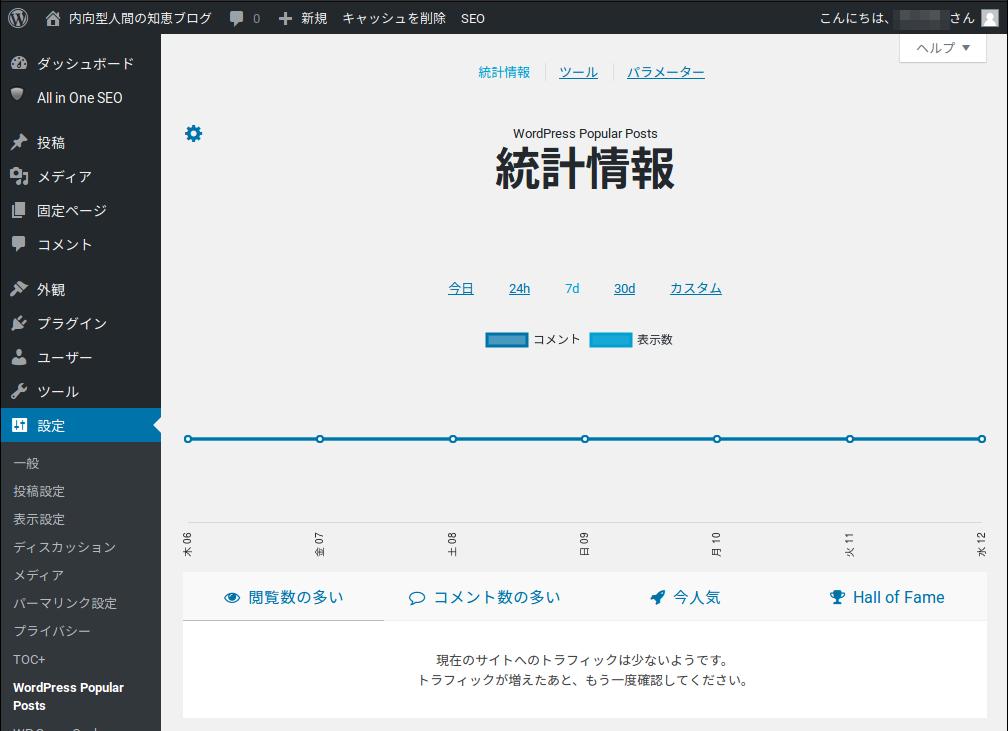 Fig1.WP Popular Postsの設定画面