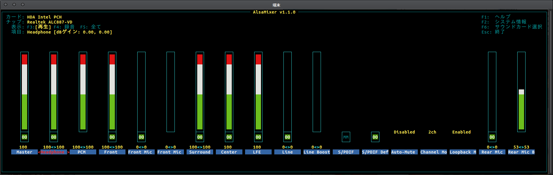 Fig2.AlsaMixerのスクリーンショット