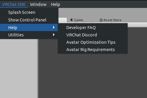 VRChat SDKのバージョンによってメニューの項目が異なる