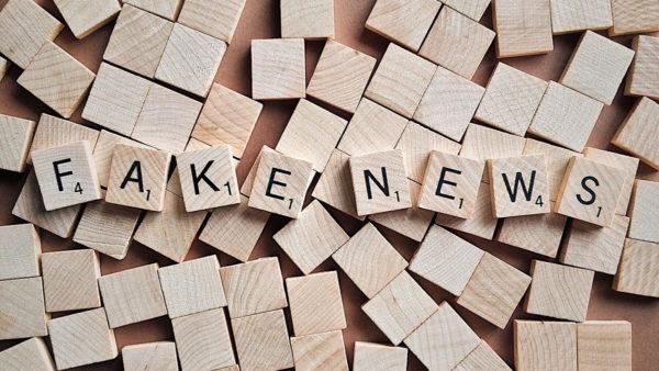 """アイキャッチ:ブロックに書かれた""""FAKE NEWS"""""""